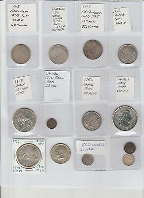 Silver Lot 3 Newfoundland .50 & Canada Maple $5 & Dollars Fifty Cents, etc
