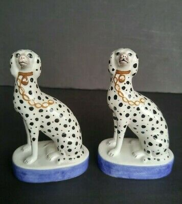"""Pair of Staffordshire Type Dalmation Dog Figurines- 5"""" Italy Porcelain Statues"""