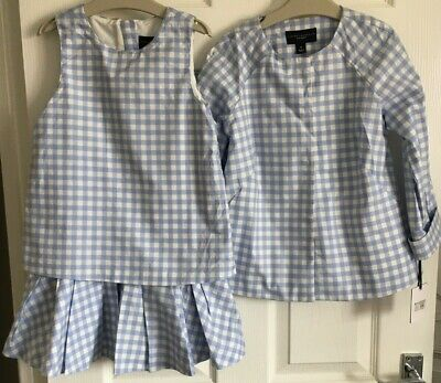 Girls Age 6-7 Years Blue Checked Dress And Jacket VICTORIA BECKHAM