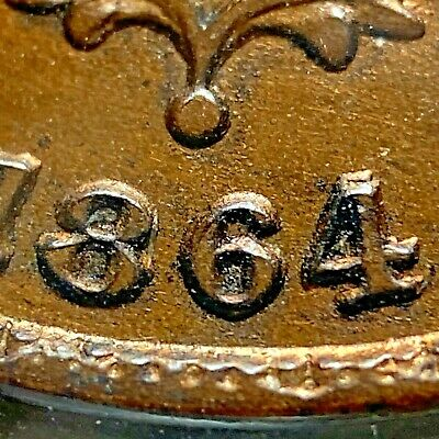 1864/4 2C Two Cent Piece, Large Motto, re-punched date  (55669)