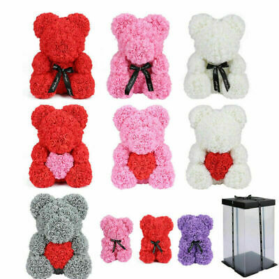 25/40cm Lovely Rose Bear Teddy Doll Foam Flowers Rose Girl Birthday Gift Wedding