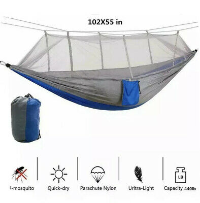 Camping Hammock with Mosquito Net Tent Hanging Bed Swing Chair Outdoor Hiking