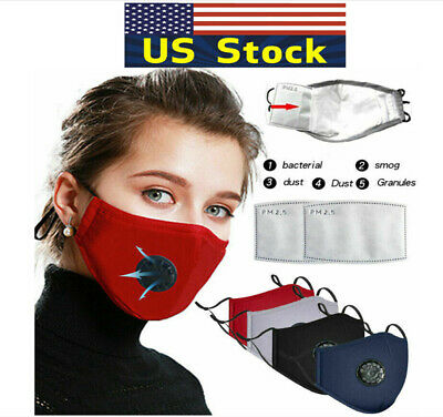 Fabric Cotton Cloth Reusable Face Mask Cover Washable+2 Filters PM 2.5 Carbon US