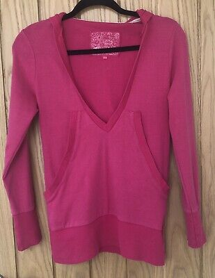 Girls NEW LOOK 915 GENERATION Pink Cerise V Neck Hoodie Hooded Jumper Age 12-13