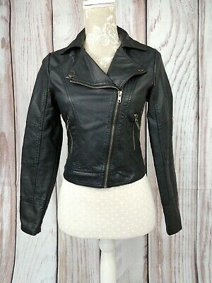 New Look Generation 915 Faux Leather Asymmetric Cropped Biker Jacket 12-13 Years