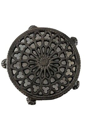 Antique Cast Iron Small Trivet Old Lace Design