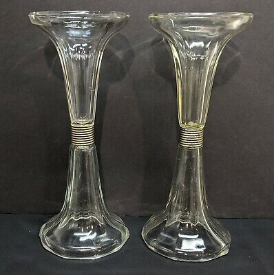 "2 x Antique Pharmacy Soda Fountain Drug Store Glass Shelf Riser Support 12 1/2""T"