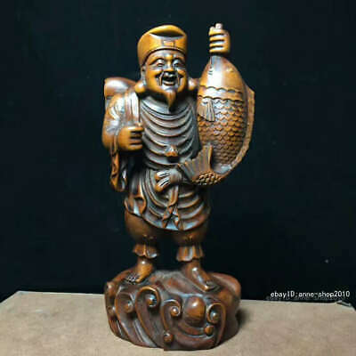 16.5CM Chinese Old Boxwood Wood Hand carving Fisherman old man wood Statue QQQ