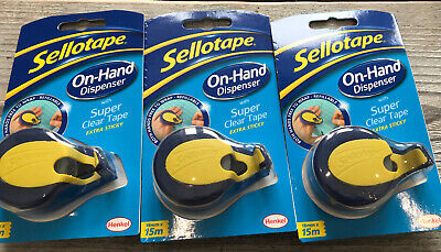 3 x Sellotape On Hand Dispenser With Super Clear Tape 15m Keep Both Hands Free!