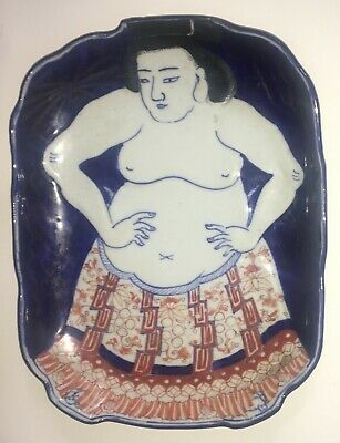 Rare Antique Japanese IMARI Porcelain SUMO WRESTLER Plate - Bowl  19th Century