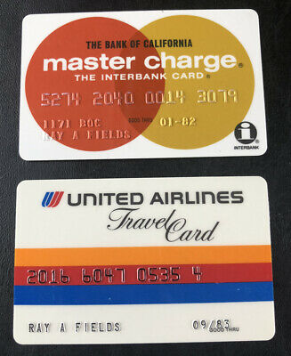 2 VINTAGE UNITED AIRLINES MASTER CHARGE1980's COLLECTORS CREDIT CARD EXPIRED