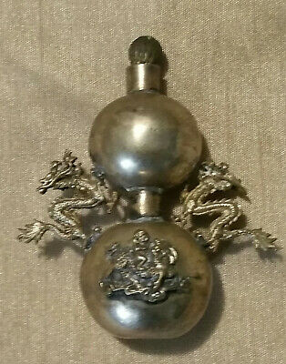2.5' Antique Chinese Silver Snuff Bottle Carved Dragon