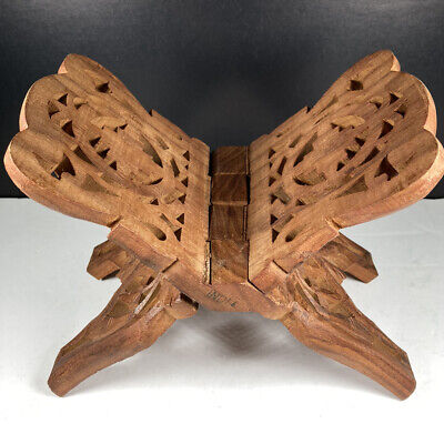 Vintage Wood Book Folding Stand Rack Hand Carved India Floral Bible Recipe Book