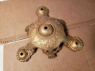 NICE NOS PART Antique 3 Light Chandelier Pendant Flush Mount Fixture Art Deco