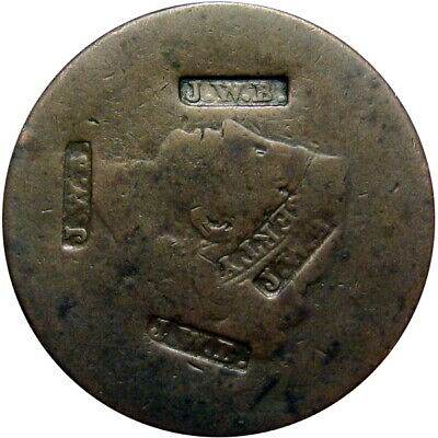1842 New York City Hard Times Token James W Beebe Counterstamp on 1830's Cent R7