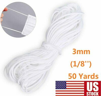 3mm (1/8'') Round Elastic Band White Cord Sewing For DIY Face Masks 50 Yards US