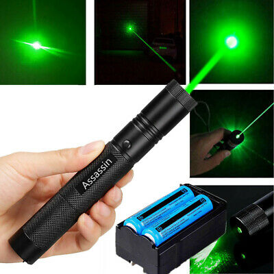 900Miles 532nm 301 Laser Pointer Pen Green Lazer Beam+18650 Battery+Dual Charger