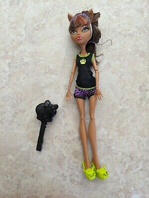 "Monster High 11"" Doll CLAWDEEN WOLF WEREWOLF DEAD TIRED MASK PAJAMAS Brush Lot"