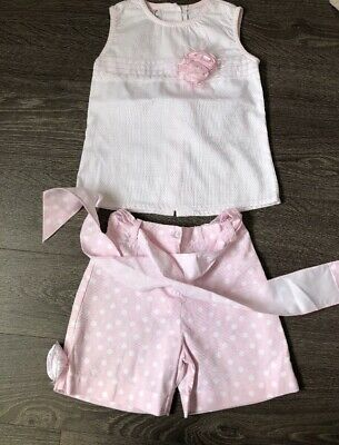 pretty originals Girls White Spot Top & Pink Spot Shorts Age 8 Years (small fit)
