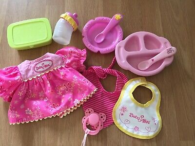 ORIGINAL BABY ALIVE accessories Feeding Spoons Bowls And Bottle Bibs Dress Dummy