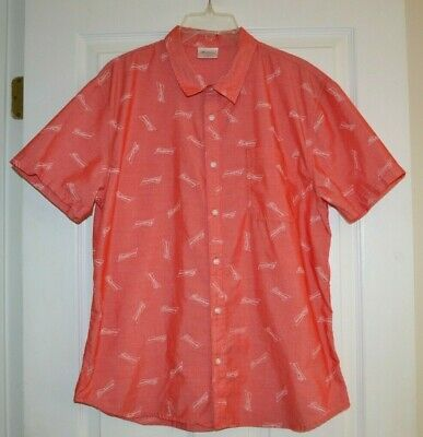 Mens Budweiser Beer Button Down Red Hawaiian Style Shirt size L Large