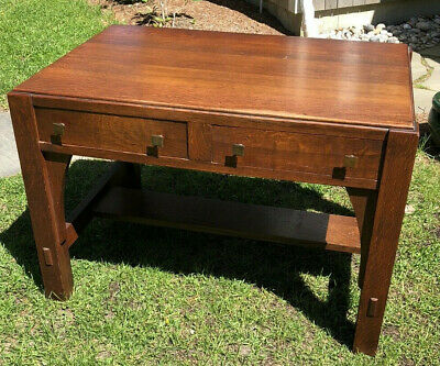 Fine Signed Limbert  Arts and Crafts  Mission Oak Library Table Desk ~Cape Cod