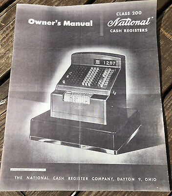 Antique National Cash Register CLASS 200 OWNERS MANUAL NCR