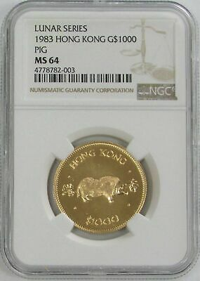 1983 Gold Hong Kong $1000 Lunar Year Of The Pig Coin Ngc Mint State 64