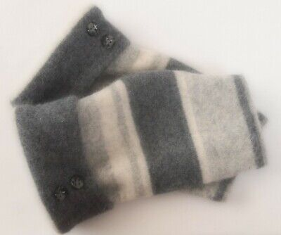 Fingerless Gloves Gray Striped Angora Wool Women's One Size Fits Most S M L Text