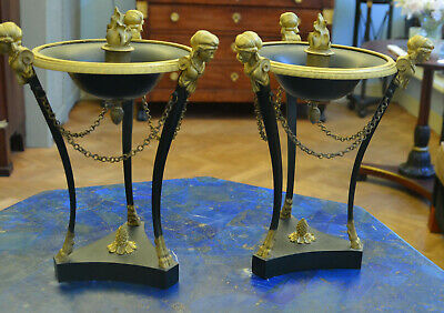 Pair of 19th century French Empire Ormolu & Patinated Bronze Figural Candelabras
