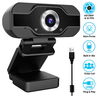 1080 P Full HD USB Webcam for PC Desktop & Laptop Web Camera with Microphone