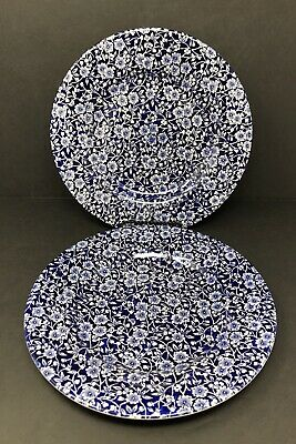"""Set of 2 QUEEN'S CALICO BLUE & WHITE CHINTZ 11"""" Dinner Plates"""
