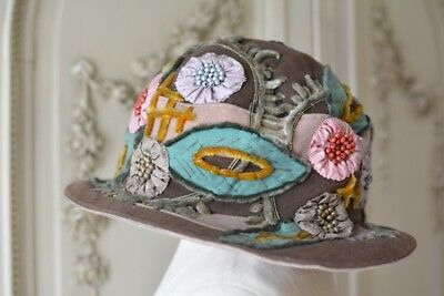 ANTIQUE 1920'S FRENCH Bonnie Jean CLOCHE HAT with silk ribbon work & beading