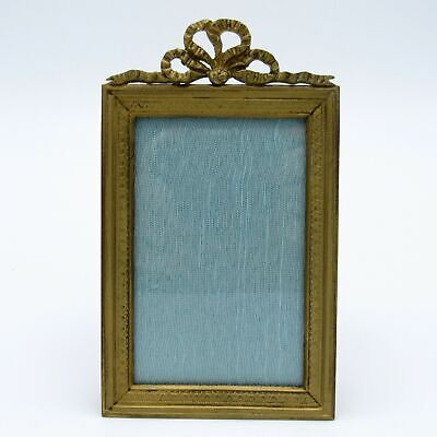 Antique French Bronze Picture Photo Frame with Bow Top NR