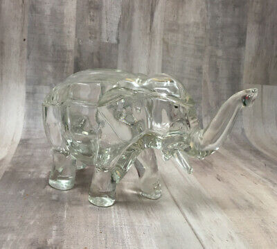 Heavy Glass Elephant Candy Nut Dish With Lid Jungle