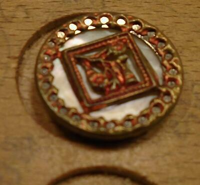 """WOW 9/16"""" Picture Framed Pearl Bckgrnd Metal Antique Button 33:31"""