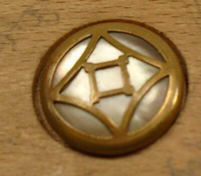 """WOW 9/16"""" Pearl with Metal Overlay Brass Antique Button 33:33"""