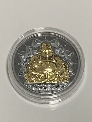 2017 - Palau $10 - 2oz .999 silver - LAUGHING BUDDHA HR coin with gold gilding.