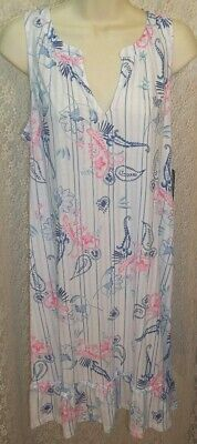 Ralph Lauren Cotton Blend Nightgown Sleeveless Short Large L White Blue/Pink NWT