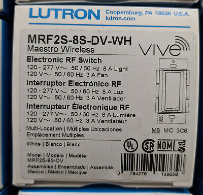 Lutron MRF2S-8S-DV-WH Maestro Wireless Electronic RF Switch, 120-277 Volts