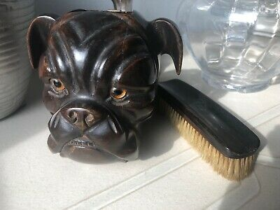 Black Forest Carved Bulldog Brush Holder