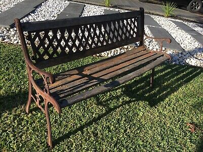 Outdoor Cottage Garden Bench Seat Decorative Wrought Cast Iron Timber Slats