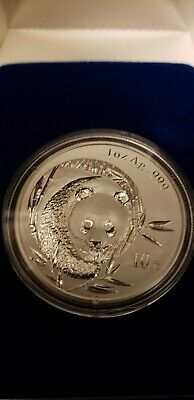 2003 China 10 Yuan Panda Frosted Bamboo 1 OZ .999 Silver Coin