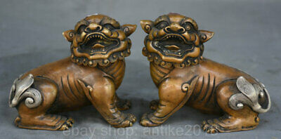 4.8 inch Old Chinese Copper Silver Feng Shui Foo Dog Lion Lucky Sculpture Pair