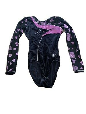 Girls Pink Black and Silver long sleeve Leotard Size 32