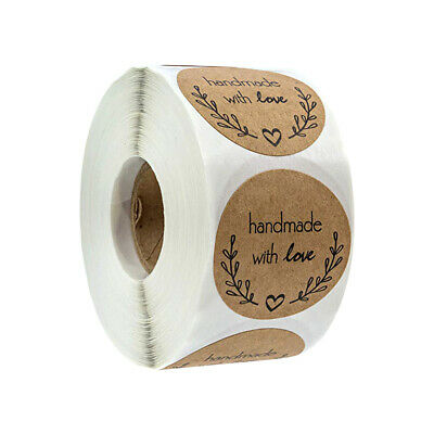 500x Hand Made With Love Stickers Homemade Labels Thank You Round Heart Sticker