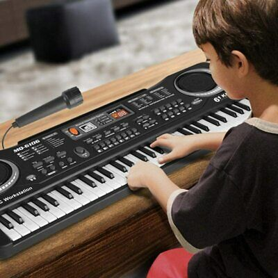 61Key Full Size Digital Electronic Keyboard Microphone Set Electric LED Kids Toy