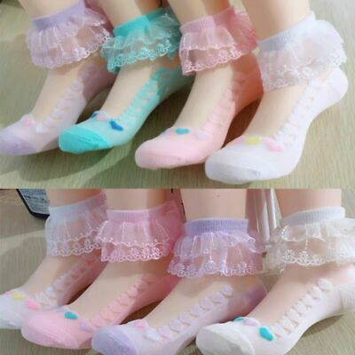 Girls Baby Toddler Kids Frilly Lace Trim Ankle School Party Wedding Socks 3m-15y