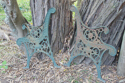 Vintage ornate cast Iron lace Bench Ends Garden Seat