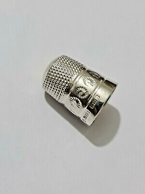 Full Hallmarked English Silver Thimble Vintage Solid Sterling Silver 6.20 grams